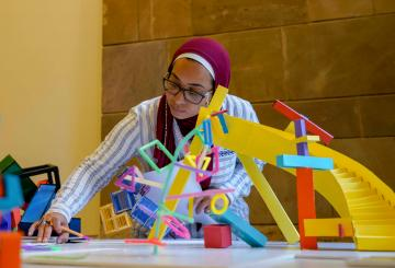 student during an engineering activity