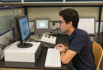 student studying on a computer
