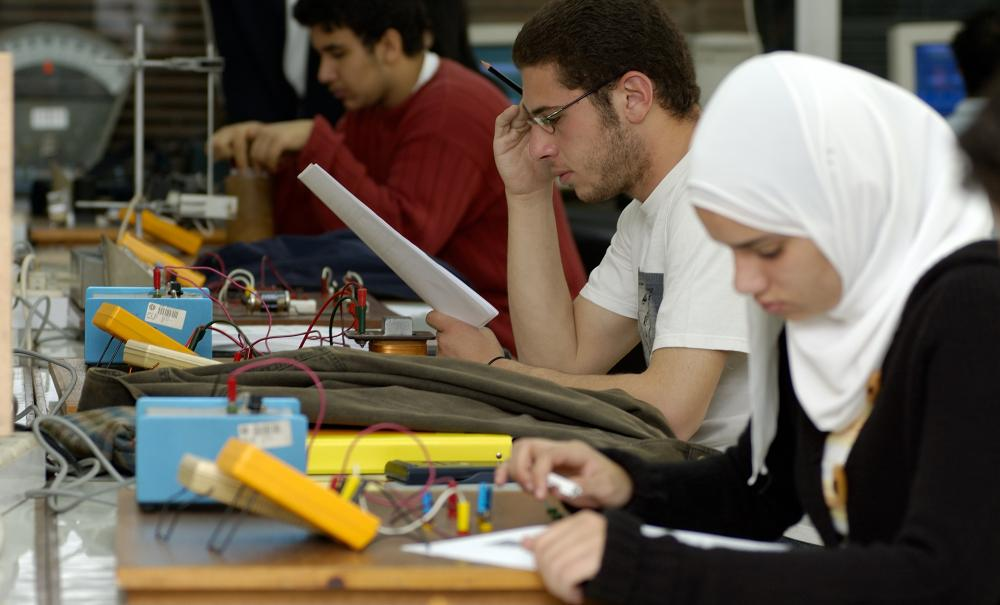 students in electronics lab