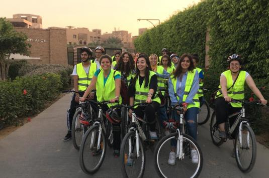 Students on bike