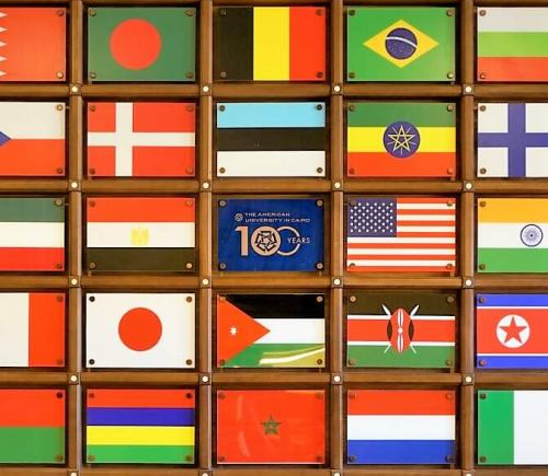 wall installation of countries flags